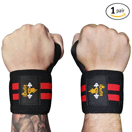 "iDofit Wrist Wraps Support (Pair) 18"" Professional Grade With Thumb Loop Improve Hand Grip & Prevent Injury Wrist Straps Braces for Weight Lifting, Powerlifting, Weight & Strength Training"
