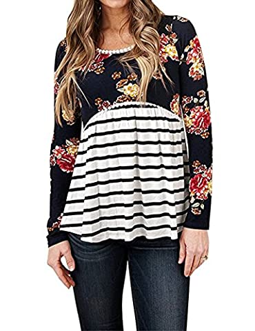 YILLEU Women's Floral Print Striped Scoop Neck Tunic Babydoll Long Sleeve Peplum Tops Blouses Black - Maternity Print Tunic