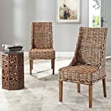 wicker dining room chairs Safavieh Home Collection Suncoast Brown Dining Chair (Set of 2)