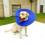 Fosinz Pet Collars Dog Protective Inflatable Mask Cat Recovery E-Collar Water-Resistant Nylon Fabric & Soft Hollow EPE Foam Does Not Block Vision (XL, Blue)
