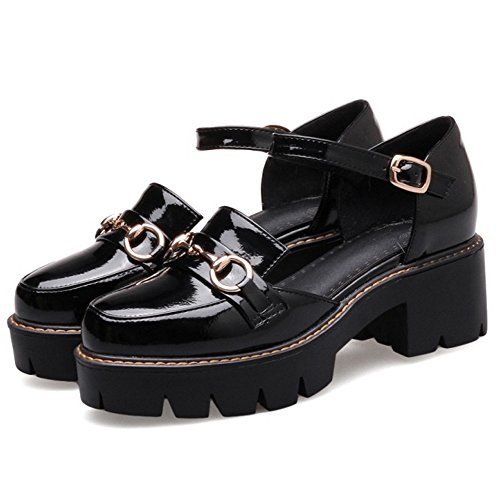 COOLCEPT Women Fashion Ankle Strap Sandals Closed Toe Chunky Shoes Black Q4U17dlUd