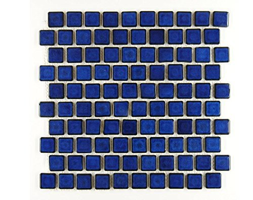 Square Tile Cobalt Blue Porcelain Mosaic Shiny Look 1-1/8