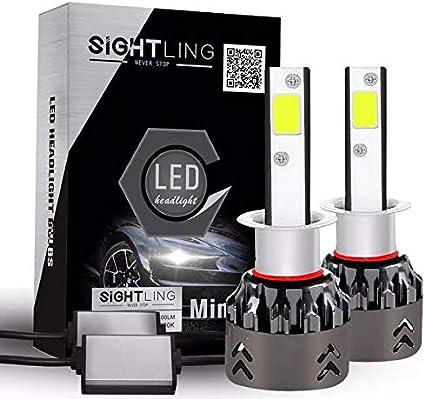 3 a/ños de garant/ía SIGHTLING 2X H1 60W 6000LM LED Faros Delanteros Bombillas Cohces L/ámpara luz 6000K