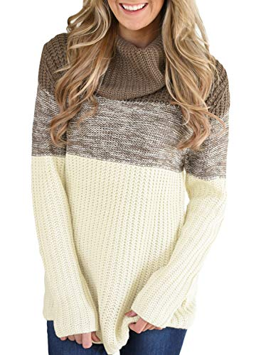 Lovezesent Women Fashion Color Block High Cowl Neck Knit Thick Jumper Long Pullover Sweaters with Sleeves for Leggings Brown Large