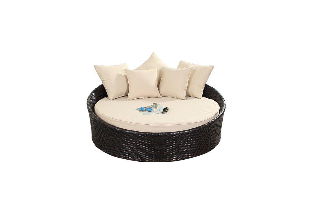 West Country klein Sofa–inkl. einem Circular Bett mit einer dicken Boden Kissen und passender Scatter Kissen für zusätzlichen Komfort Rattan Garten Möbel