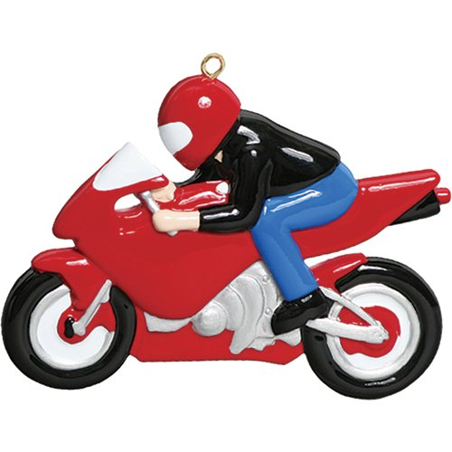 Christmas Motorcycle - Personalized Sport Bike Christmas Ornament for Tree 2018 - Motorcycle Boy Girl with Helmet - Motorist Athlete Cycling Speed Sport Profession Hobby Activity Bicyclist Red Two - Free Customization (1)