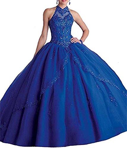 Lungo Blu Xuyudita Perline Alto Royal Pageant Quinceanera Collo Donna Appliques Abiti rS44KqTU
