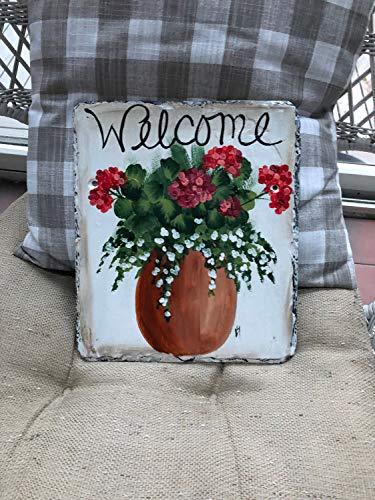 MaxwellYule Spring Door Decor Painted Slate Welcome Sign Geranium Welcome Sign Welcome Plaque Summer Door Hanger Welcome