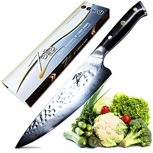 ZELITE INFINITY Chef Knife 8 Inch - Alpha-Royal Series Executive Chefs Edition - Revolutionary AIR-BLADE Design, Best Japanese VG10 Super Steel 67 Layer High Carbon Stainless Steel, Tsuchime Finish - Executive Chefs Set