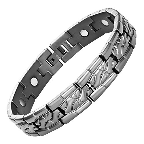 Titanium Magnetic Therapy Bracelet for Arthritis Pain Relief Gunmetal Size Adjusting Tool and Gift Box Included By Willis Judd