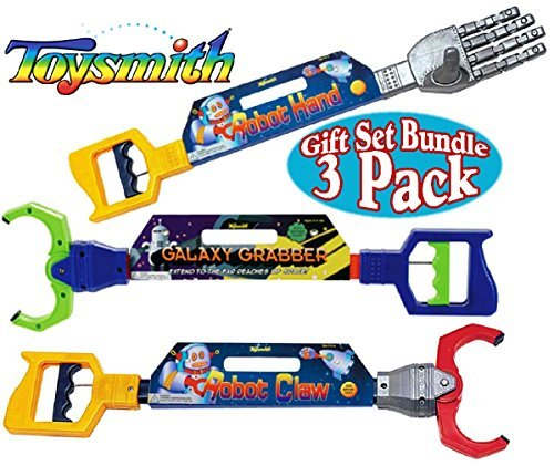 Toysmith Galaxy Grabber, Robot Hand & Robot Claw Gift Set Bundle - 3 Pack (18 Reacher Grabber)