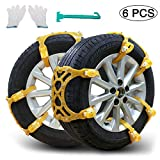 Snow Chains, Anti-skid Tire Chains Car Emergency Chains Powertiger Anti Slip Tire Snow Chain for Car and SUV (Set of 6)