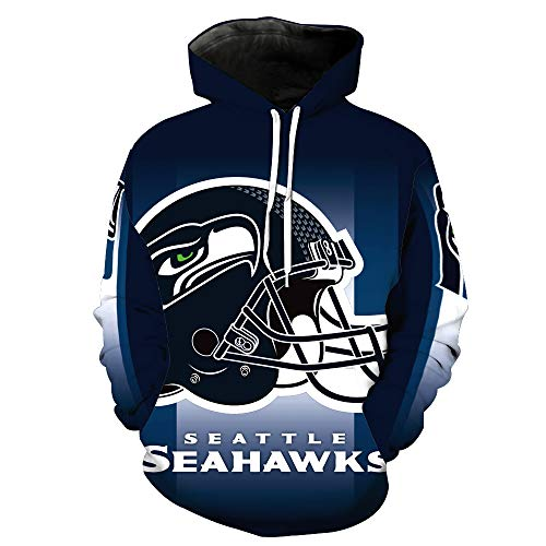(JJCat Men's Long Sleeve Hooded 3D Print Seattle Seahawks Football Team Pullover Hoodies(L,Blue))