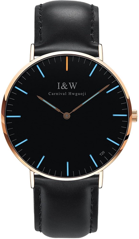 メンズラグジュアリー超薄型Tritium Tracheaカーフスキンストラップサファイアクリスタル2つトーン防水Quartz Watches M Blue light-gold B07BQ9ZHJ5Blue light-gold