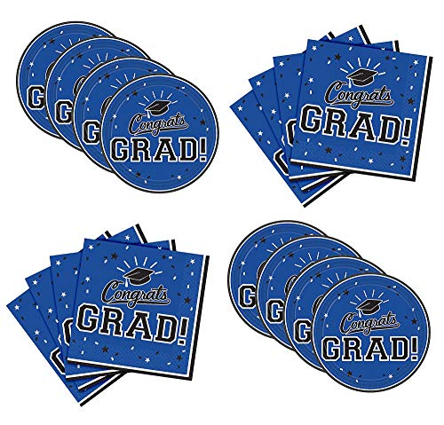 Party City Blue Congrats Grad Graduation Dessert Supplies for 18 Guests, Small Paper Plates and Napkins for Easy Cleanup