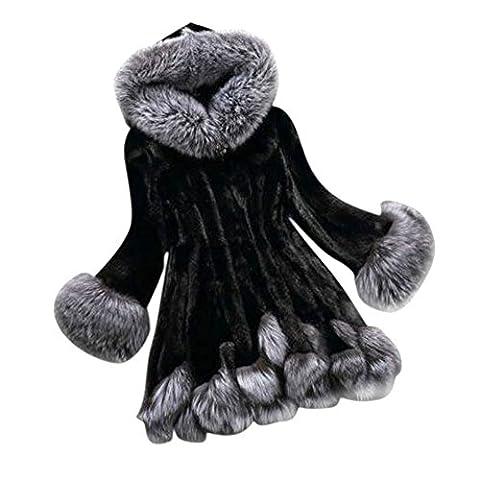 Fedi Apparel Womens Winter Faux Fox Fur Coats Luxury Long Hooded Jacket Overcoat