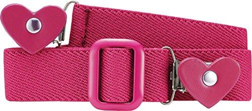 Playshoes Mädchen Gürtel 601230 Elastischer Kindergürtel mit Clips in Herzform, passend bei Größe 74-110, Gr. one size, Rosa (pink)