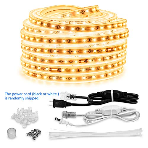 AMANEER LED Rope Lights, 50ft Flat Flexible Light Strip Warm White, 110V 2 Wire, 900 Units SMD 2835 LEDs,Connectable, Waterproof Indoor/Outdoor Use,Power Supply, Decorative Lighting for Any Locat