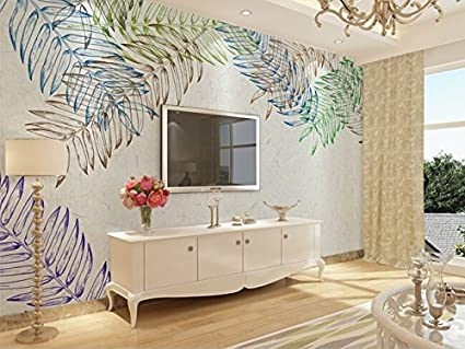 ZLJTYN 270cmX180cm retro personalizado papel tapiz, hojas de color ...