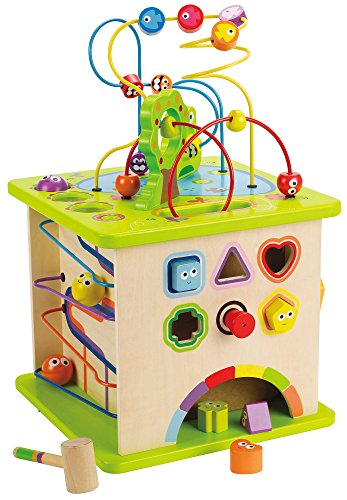 One of the top baby toys is the Hape Country Critters Wooden Activity Cube