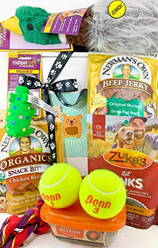 Deluxe Dog Gift Box Basket with 4 Grain Free Gluten Free Treats and 5 Toys for A Favorite Canine Fur Baby Perfect for Dog Lover