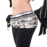 BellyLady Belly Dance Hip Scarf, Multi-Row Silver Coin Dance Skirt, Gift Idea BLACK