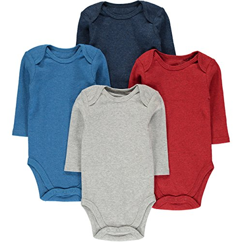Wan-A-Beez 4 Pack Baby Girls' and Boys' Long Sleeve Bodysuits (3-6 Months, Solid Heather)