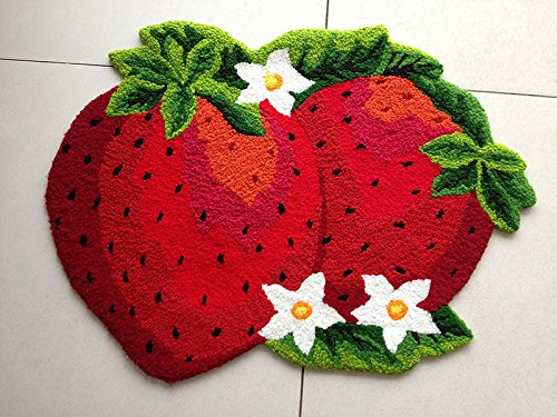 """Abreeze Anti Skid Toilet Red Rug Strawberry Kids Rug Colorful Handmade Floor Mats Non-slip Princess Rugs, 31""""x23"""""""
