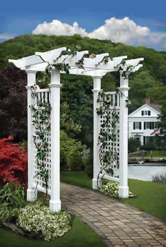 Fairfield 58''W x 86''H Vinyl Arbor with Trim Kit by New England Arbors