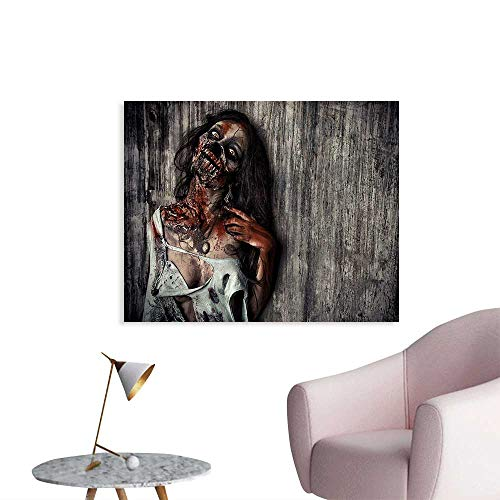 homehot Zombie Funny Poster Angry Dead Woman Sacrifice Fantasy Design Mystic Night Halloween Image Wall Paper Dark Taupe Peach Red W28 xL20 ()