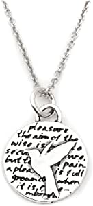 Kevin N Anna Hummingbird (Pleasure Quote) Sterling Silver Small Pendant Necklace, 18""