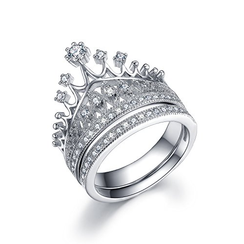 UMODE 925 Silver Tiara Princess Crown Ring Set Accented Tiny Cubic Zirconia CZ Stone Size (Silver Crowns Design)