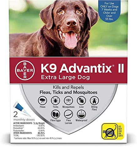 Flea and tick prevention for dogs, dog flea and tick treatment, 2 doses for dogs over 55 lbs, K9 Advantix II