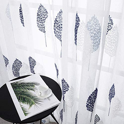MRTREES Sheer Curtains Rod Pocket 95 Inches Long Voile Sheer Dark Blue Leaf Embroidery on White Panels with Embroidered Leaves Design Large Windows Bedroom Living Room, 2 - Wash Curtains Sheer