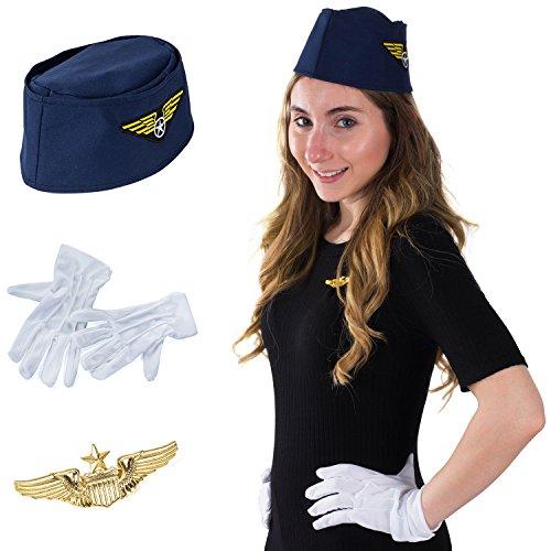 Tigerdoe Stewardess Flight Attendant Costume - Air Hostess Cabin Crew 3 Pc (Flight Captain Womens Costumes)