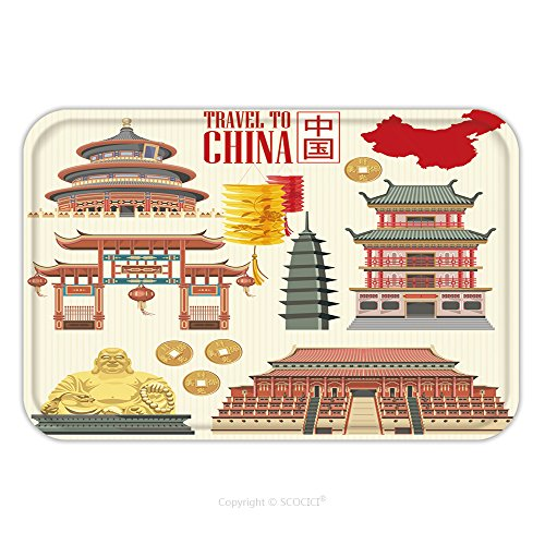 Flannel Nerd Costume (Flannel Microfiber Non-slip Rubber Backing Soft Absorbent Doormat Mat Rug Carpet China Travel Vector Illustration Chinese Set With Architecture Food Costumes Traditional 461294920 for Indoor/Outdoor/B)