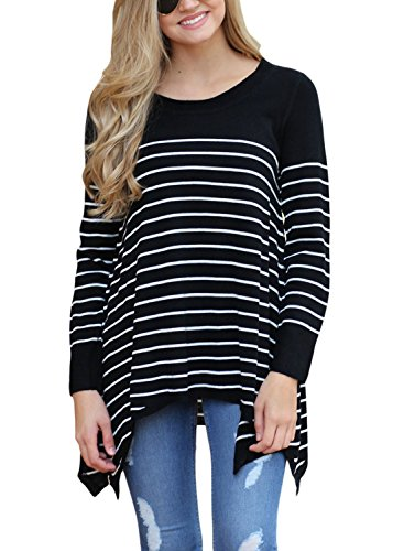 Sidefeel Women Round Neck Stripes Loose Knit Sweater Pullover Tops Large Black by Sidefeel