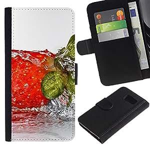 Planetar® Modelo colorido cuero carpeta tirón caso cubierta piel Holster Funda protección Para Samsung Galaxy S6 / SM-G920 ( Fruit Wet Strwberry )