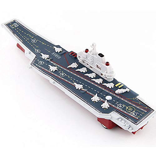 CORPER TOYS Aircraft Carrier Toy Vehicle Die-cast Metal Battleship Pull Back Military Toy Model Warplane Fighter Jets Playset with Lights and Sounds