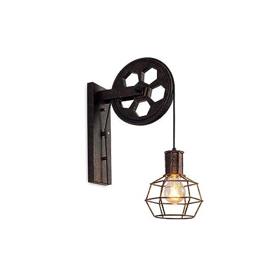 YCLED Lámpara de Pared Industrial Polea Retro E27 Vintage Polea ...