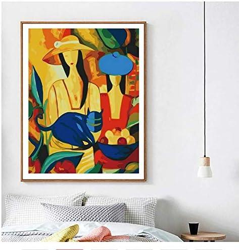 Fvfbd Pintura por números Pintura al óleo Mujer DIY Figura Abstracta decoración del hogar Pintura Lienzo Cuadro Pintado a Mano Moderno sin Marco 40x50cm