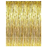 3 Pack Set Pale Champagne Metallic Foil Fringe Tinsel Curtain Happy Birthday Party Decoration Backdrop 1x 3 m Light Gold Copper Tinsel Decorations