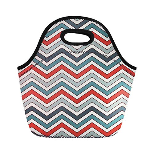 (Semtomn Lunch Tote Bag Red Chevron Diagonal Stripes Abstract Retro Classic Geometric Zigzag Reusable Neoprene Insulated Thermal Outdoor Picnic Lunchbox for Men Women)