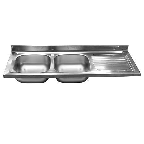Lavello lavandino cucina 2 vasche sx acciaio INOX scolapiatti cucina ...