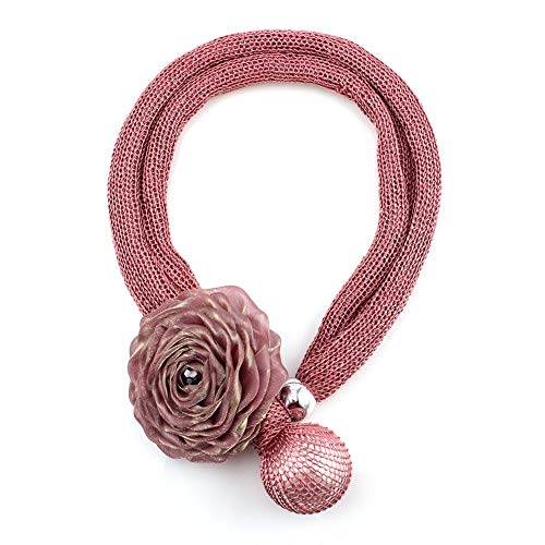 Handmade Bib Silk - Big Simulated Pearl Bead Pendant Rope Chain Silk Flower Necklace for Women Handmade Bib Long Statement Jewelry (Pink)