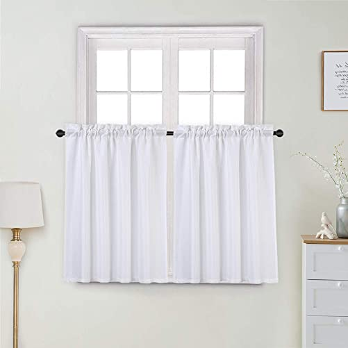 Haperlare Kitchen Cafe Curtains, Waterproof Waffle Woven Textured Short Window Curtain for Bathroom, Window Covering Tier Curtains, 30 x 36 , White, Set of 2