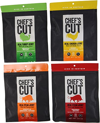 Chef's Cut Real Jerky 4 Variety Bundle - Original Recipe Steak, Chipotle Cracked Pepper Steak, Original Recipe Turkey, Honey Barbecue Chicken, 4 x 2.5 Oz Bags