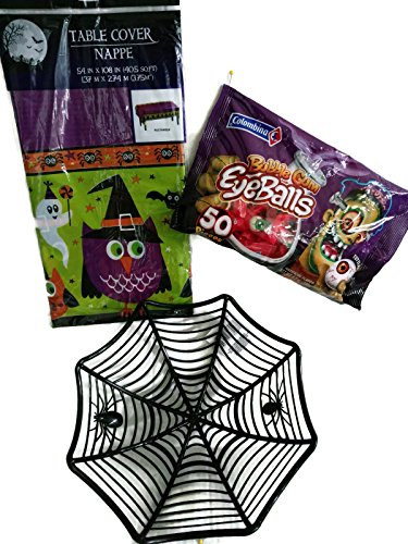 Basket full of eyeballs - Halloween Black Spider web bowl, rectangle spooky tablecloth and 50 bubble gum eyeballs, 3 piece set -