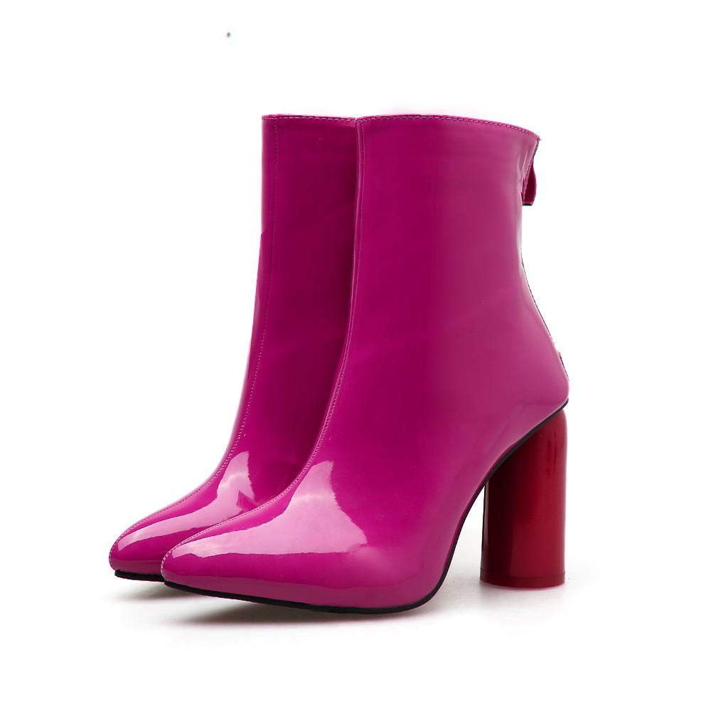 GSAYDNEE Damen Damen Damen High Heel Stiefel aus Lackleder Spitzen Dicke Stiefeletten (Farbe   Rosa rot Größe   39) 927b5b