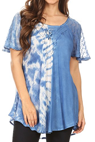 - Sakkas 18718 - Iris Womens Tie-dye Short Sleeve Blouse Top with Corset and Embroidery - Sky Blue - OSP